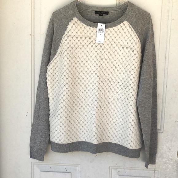 Ann Taylor, gray cream,scale sweater